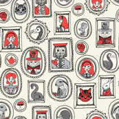 wonderland portraits // mad hatter alice queen of hearts dodo cheshire cat illustration pattern