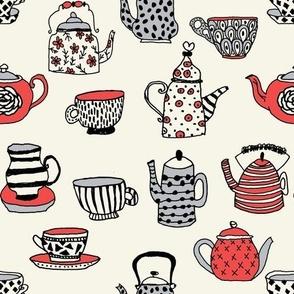 tea cups tea party // alice in wonderland tea party british hand-drawn illustration tea pattern