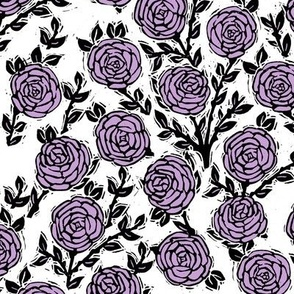 rose // purple flowers floral spring rose linocut block print traditional illustration print