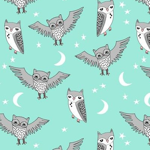 owl // bright mint owl moon stars mint and grey kids room