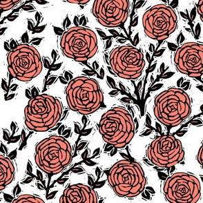 rose // linocut william morris inspired roses block print coral summer spring rose valentines flowers
