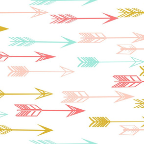 arrows // coral pink mint yellow baby nursery kids