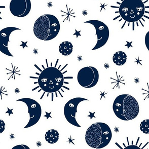 sun moon stars // navy blue white kids room boys constellation kids print