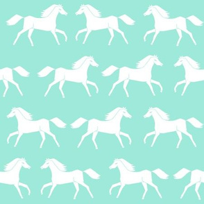 horses // running horses mint and white girly pastel horse illustration for girls room