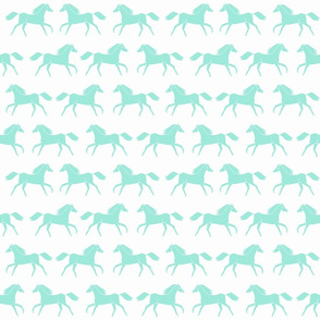 horses // mint horses white nursery baby girls girly cute illustration for little girls