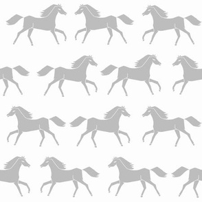 horses // running horses grey slate grey monochrome girls cowgirl illustration