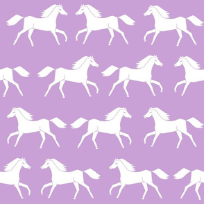 horses // purple pastel girly print horse little girls illustration pattern
