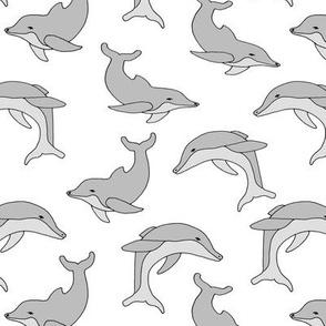 dolphin // grey cute summer ocean simple kids trendy summer animal print