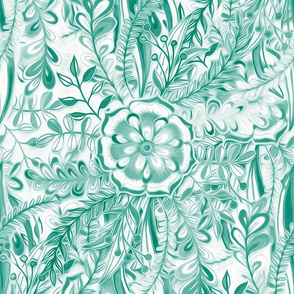 Boho Flower Burst in Emerald Green and White