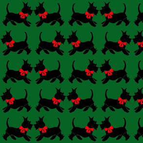 Scotties on green - Christmas gift wrap