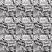 Modern Comic Book Superhero Pattern Small B&W