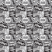 Modern Comic Book Superhero Pattern Black White Grey