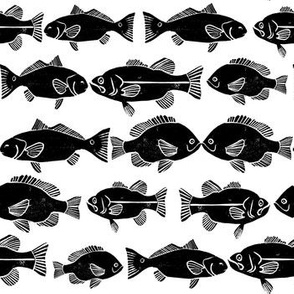 ocean fish // nautical black and white minimal fish print