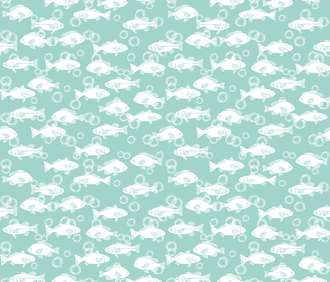 Ocean fish sea life nature mint pastel baby nursery for Nautical nursery fabric