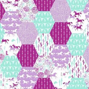 Horses Hexagon Quilt // Purple and Mint cute girly quilt featuring horses, cactus and floral prints