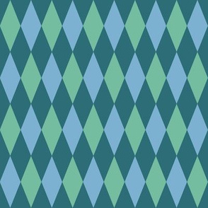 harlequin diamonds in soft aqua on teal