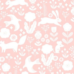 woodland spring // nursery baby pink pastel baby girl cute animals rabbit bird flowers florals