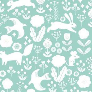 spring // woodland squirrel rabbit flowers florals cute pastel nursery mint baby