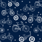 bicycles // hand drawn navy blue kids bikes bicycles fun bike hand-drawn illustration bicycle print