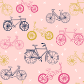 bicycles // hand drawn paste pink bikes