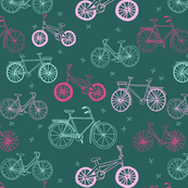 bicycles // hand drawn pink and green summer cute girls bicycle portland summer print