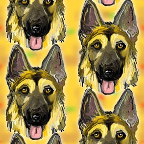 German Shepherd Dog Portraits on Gold