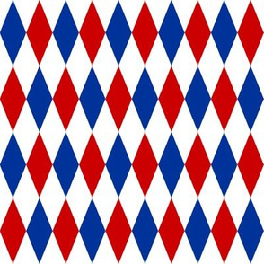red, blue and white harlequin