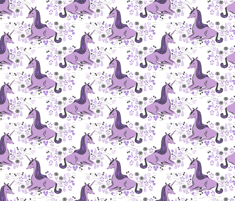 Unicorn pastel white lilac purple nursery baby fabric for Purple baby fabric