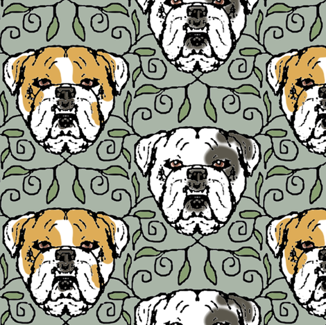 English Bulldog Portraits with Vines