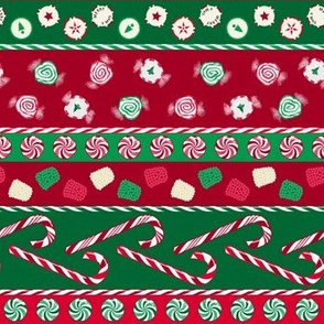 Christmas Candy Stripes Railroaded Red Green White