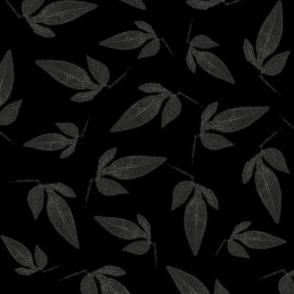 Grey Leaves on Black