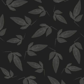 Gray Leaves on Dark Grey