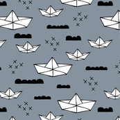 Cute origami japanese paper art boat and ocean theme illustration for kids geometric style design purple gray black and white