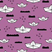 Cute origami japanese paper art boat and ocean theme illustration for kids geometric style design purple fuchsia black and white