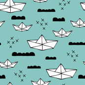 Cute origami japanese paper art boat and ocean theme illustration for kids geometric style design aqua blue black and white