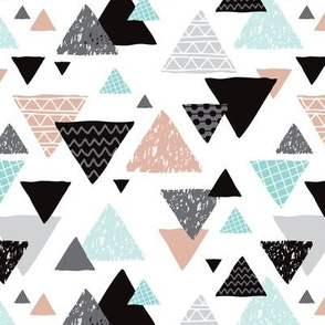 Geometric triangle aztec illustration hand drawn pattern mint and gender neutral beige