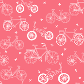 bicycles // pastel pink kids leggings bikes