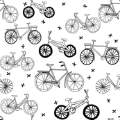 bicycles // hand drawn black and white summer bicycles bike cute kids fresh print