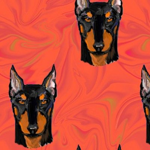 Rust Doberman Pinscher on Red Marble