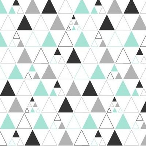 Triangles - Stacked in Mint Gray Charcoal