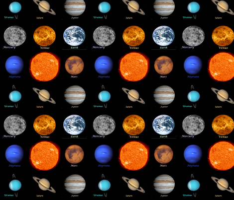 Hd solar system fabric thin line textiles spoonflower for Solar system fabric
