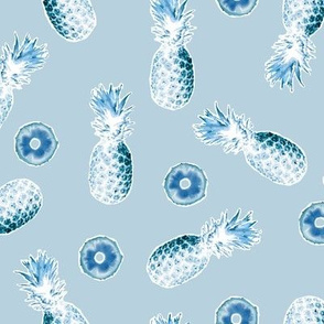 Pineapples and Slices on Light blue/gray