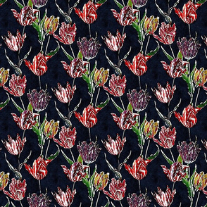 Watercolor tulips on a black ground