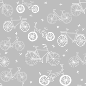bicycles // grey and white bike bicycles monochrome minimal grey kids nursery baby print