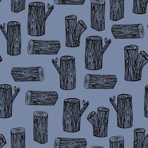 tree logs // nursery baby cute blue woodland hand-drawn woodland forest illustration
