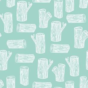 tree log // mint tree woodland lumberjack forest tree nursery mint print