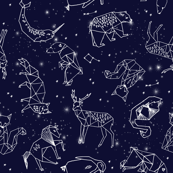 constellations // origami geometric animal astronomy stars night sky navy blue kids nursery baby print
