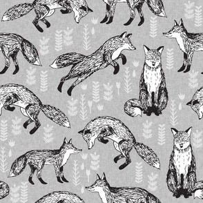 fox // woodland forest hand-drawn illustration cute foxes for nursery baby kids prints