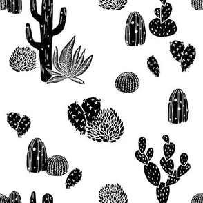 Cactus // black and white modern minimal desert baby nursery