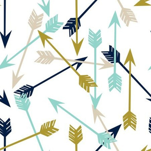 arrows scattered // navy mint khaki tan boys southwest arrow print